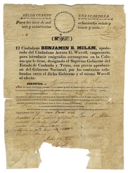 Scarce Document Signed by Texas Revolutionary Benjamin R. Milam -- Official Citizenship Document for the Red River Colony, Founded by Milam & Arthur G. Wavell