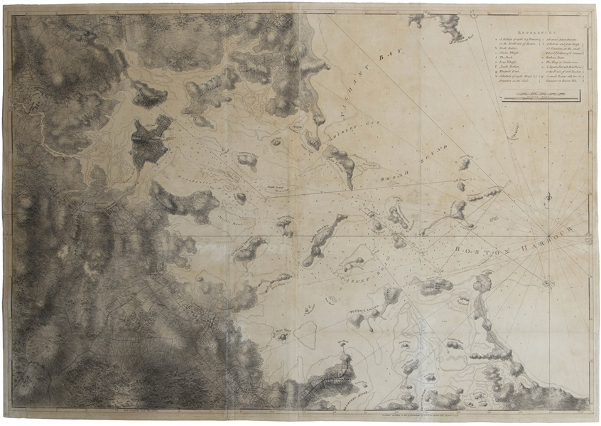 Large Map of Boston Harbor From 1775 by DesBarres -- An Important Map From Colonial History Showing Boston at the Start of the Revolutionary War