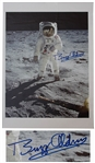 Buzz Aldrin Fantastic Signed 17.25 x 24 Giclee Print of the First Lunar Landing