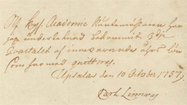 Carl Linnaeus Document Signed -- Rare Document by the Leading 18th Century Scientist, the ''Father of Modern Taxonomy''