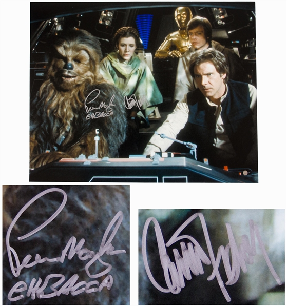 Carrie Fisher & Peter Mayhew Signed 20'' x 16'' Photo From ''Star Wars'' -- With Steiner COA