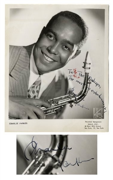 Charlie Parker Rare Signed 8'' x 10'' Photo -- With Roger Epperson COA