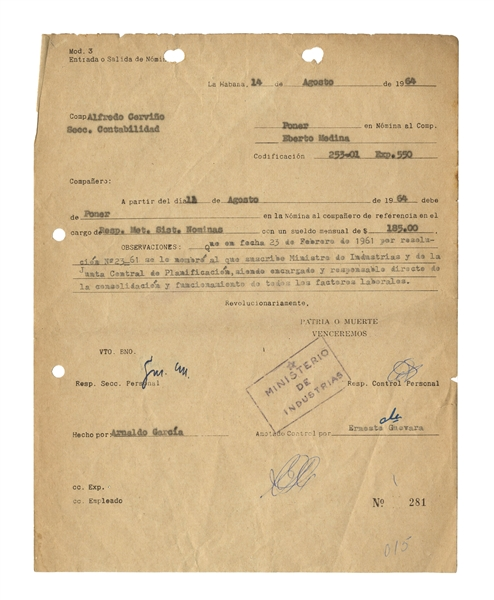 Che Guevara Document Signed From 1964 -- ''Revolutionarily''