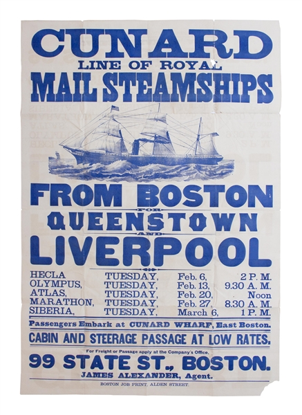 Beautiful Cunard Lines Broadside From 1877 -- Advertising Passenger Ships to Accommodate the Immigrant Explosion From Europe to the United States in the Late 19th Century