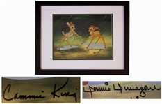Disney Limited Edition Sericel of Bambi and Faline -- Signed by the Actors Who Voiced Bambi and Faline From the Original Bambi Film