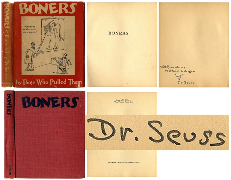 Dr. Seuss Signed First Edition, First Printing of His Adult Humor Book, ''Boners'' in Original Dust Jacket -- Inscribed to Author-Psychoanalyst Arnold Rogow