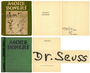 Dr. Seuss Signed First Edition, First Printing of His Adult Humor Book, More Boners in Original Dust Jacket -- Inscribed to Author-Psychoanalyst Arnold Rogow