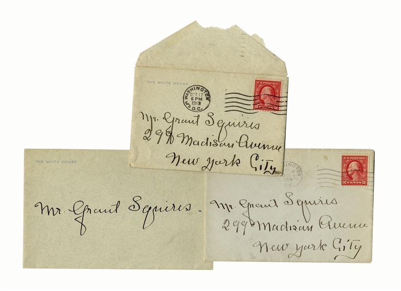 Edith Bolling Wilson Lot of 3 Autograph Letters Signed as First Lady Just After President Wilson's Stroke, as She Hid the President's Condition -- ''...the doctors are keeping him so quiet...''