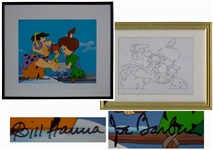 Hanna & Barbera Signed Original Hand-Painted Production Cel for The Flintstones -- With Original Pencil Drawing
