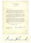 Franklin D. Roosevelt Letter Signed as President -- ...insure clean milk not only to babies but to the whole population...
