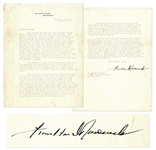 Franklin D. Roosevelt Lengthy Letter Signed as President