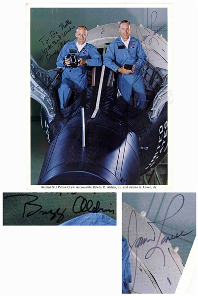 Gemini 12 Crew-Signed 8'' x 10'' Photo by Buzz Aldrin and James Lovell