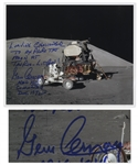 Gene Cernan Signed 10 x 8 Photo Exploring the Lunar Surface During Apollo 17 -- ...Leaving Challenger to Explore the Moon...
