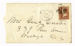 George Custer Envelope Made Out in His Hand to his Wife -- Mrs. Genl Custer