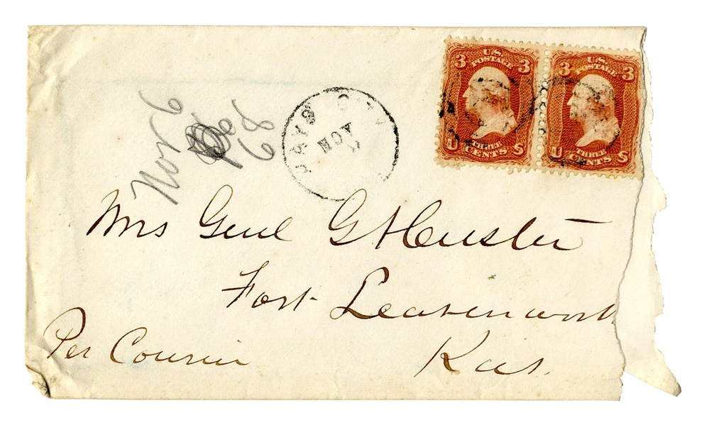 George Custer Envelope Made Out in His Hand to his Wife -- ''Mrs. Genl GA Custer''