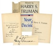 Harry Truman Signed Memoirs -- Inscribed to Photographer Extraordinaire Alfred Eisenstaedt