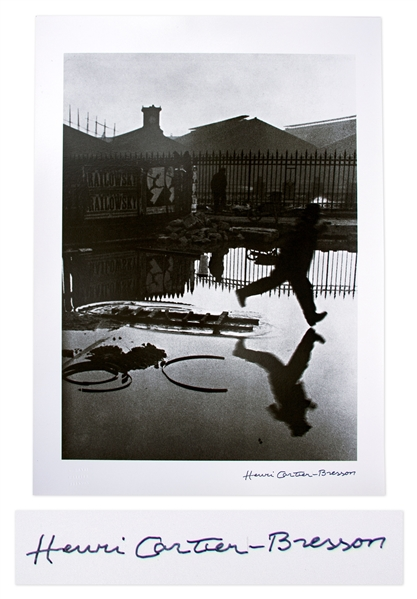 Henri Cartier-Bresson Signed Silver Gelatin Photograph of ''Behind the Gare Saint-Lazare'' -- The ''Decisive Moment'' of Cartier-Bresson's Career