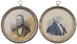 Rare 1844 Presidential Campaign Metal Featuring Whig Henry Clay & George Washington on Reverse -- With Pewter Rim Measuring 2.5