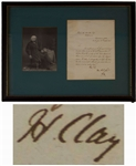 Henry Clay Letter Signed as Secretary of State -- Clay Was a Founding Member of the Whig Party, Formed in Opposition to the Politics of Andrew Jackson