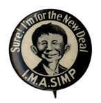 Alfred E. Neuman 1940 Campaign Button Supporting the New Deal