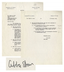 Israeli Ambassador Abba Eban 1954 Letter Signed With Fantastic Content on Global Tensions & World Peace -- ...The element of mistrust dominating the relationship between East and West...
