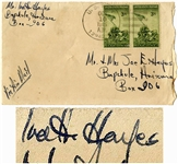 Ira Hayes Envelope Signed From 1945 With Two Iwo Jima Stamps as Postage