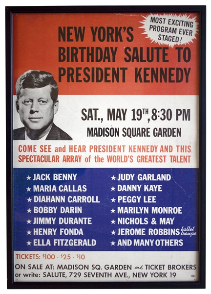 Scarce Poster for JFK's 45th Birthday at Madison Square Garden in 1962, Famous for Marilyn Monroe's Serenade of ''Happy Birthday Mr. President''
