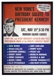 Scarce Poster for JFKs 45th Birthday at Madison Square Garden in 1962, Famous for Marilyn Monroes Serenade of Happy Birthday Mr. President