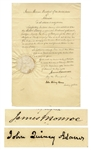 James Monroe Portuguese Diplomatic Appointment Signed as President -- Countersigned by John Quincy Adams as Secretary of State