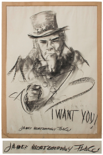 James Montgomery Flagg Signed Sketch of His Most Famous American Artwork: Uncle Sam's ''I Want You!'', Created for World War I Recruitment -- Measures 24.5'' x 34.5'', Incredibly Scarce