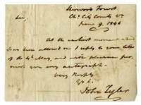 John Tyler Autograph Letter Signed -- ...with pleasure furnish you my autograph...
