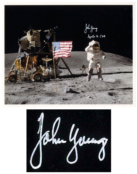 John Young Signed Photo of Him Standing on the Moon -- With Steve Zarelli COA
