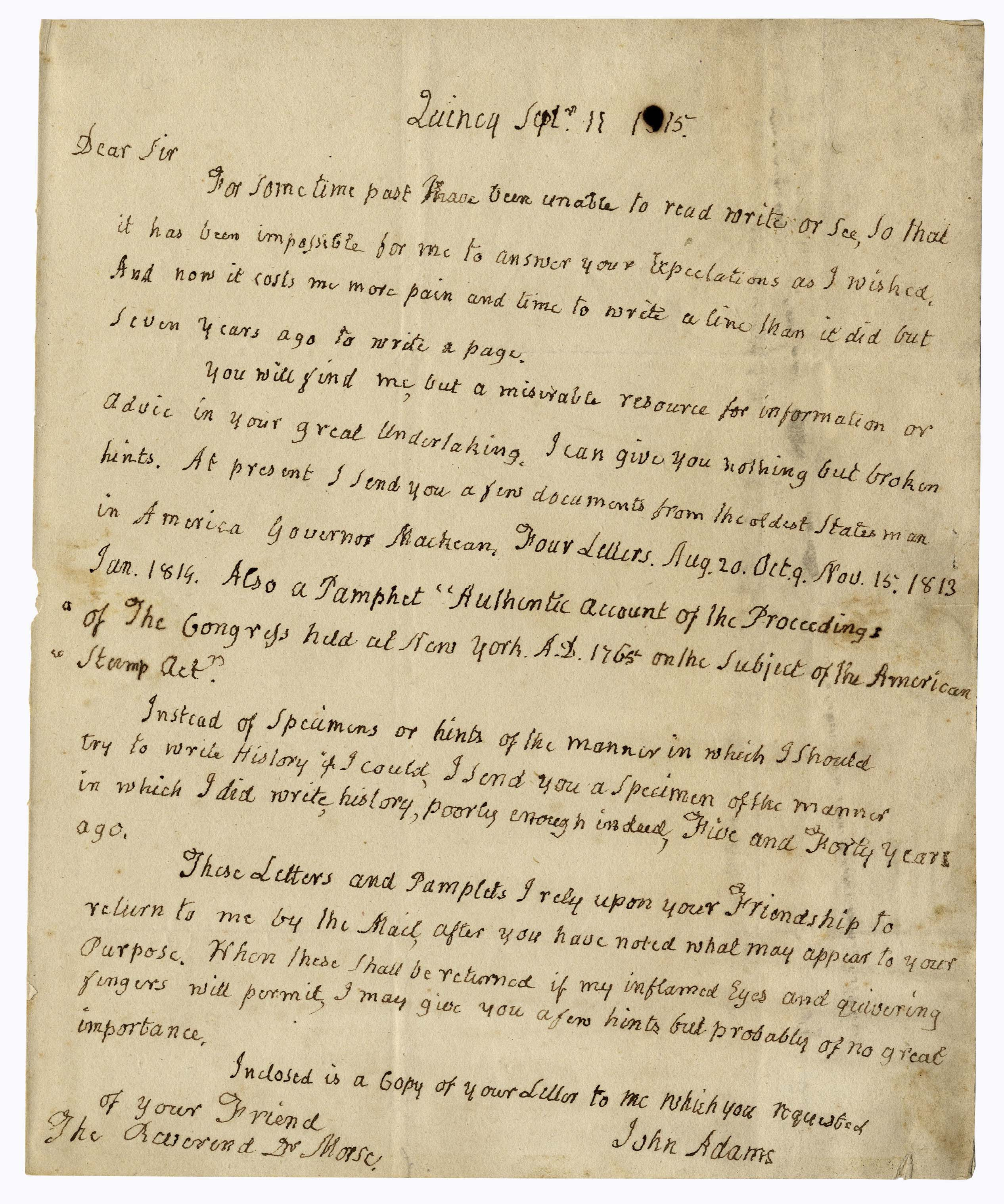 Lot Detail - John Adams Autograph Letter Signed on the Stamp