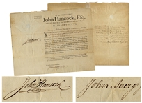 John Hancock Signed Military Appointment -- Countersigned by John Avery, Jr. & Henry Dearborn