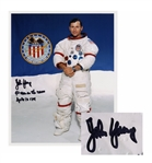 John Young Signed 8 x 10 Photo in His White Spacesuit -- 9th man on the moon -- With Steve Zarelli COA