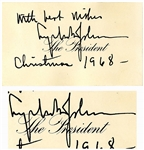 Lyndon B. Johnson Autograph Note Signed as President From Christmas 1968