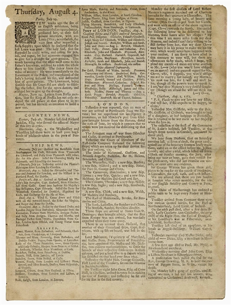London Newspaper from August 1763, Announcing the Mason-Dixon Line Survey -- Perhaps the First Public Mention of the Famous Boundary Line