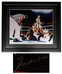 Muhammad Ali Signed 20 x 16 Photo After Knocking Out George Foreman in Round 8 of Rumble in the Jungle -- With Mounted Memories COA