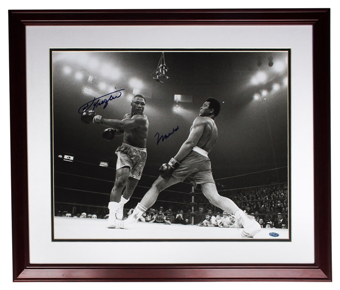 Muhammad Ali & Joe Frazier Signed 20'' x 16'' Photo From the Fight of the Century -- With Steiner COA