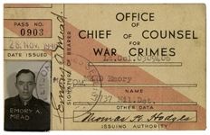 Nuremberg Trial Pass for the Doctors Trial -- Rare Soldiers Pass Issued to U.S. Lt. Colonel Emory Mead Who Guarded the War Criminals