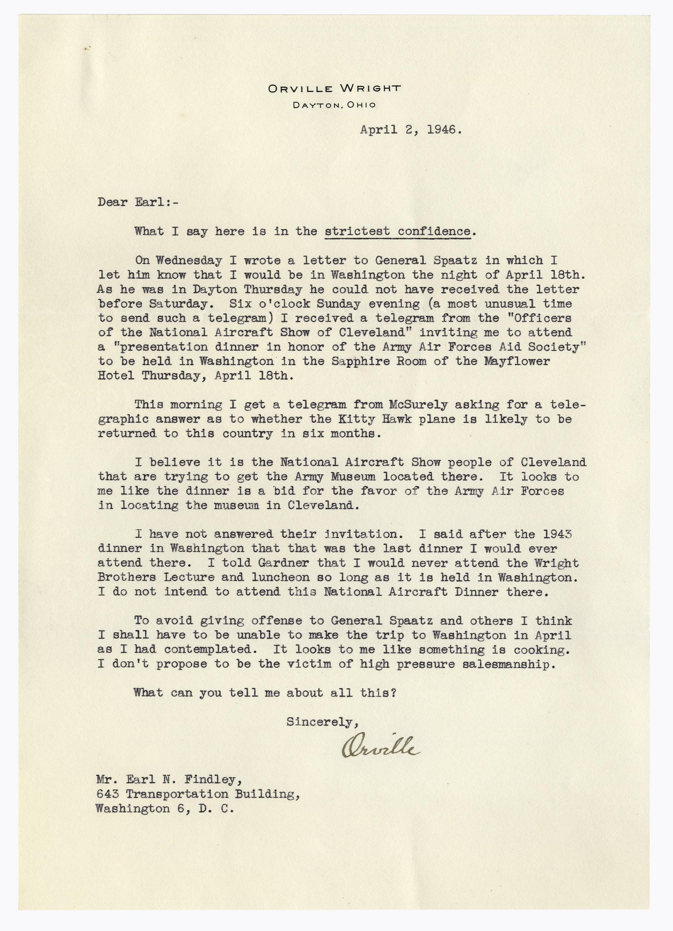 Lot Detail   Orville Wright Letter Signed Regarding the Permanent
