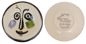 Pablo Picasso Visage no. 197 -- Playful Ceramic Created at the Madoura Pottery Studios