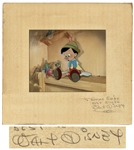 "Walt Disney Signed Original ""Pinocchio"" Cel Featuring Pinocchio and Jiminy Cricket on Original Background -- Signed Mat Measures 15"" x 16"" -- With Phil Sears COA & Courvoisier Galleries Label"