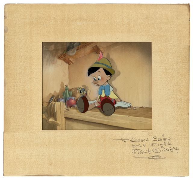 Walt Disney Signed Original Pinocchio Cel Featuring Pinocchio and Jiminy Cricket on Original Background -- Signed Mat Measures 15 x 16 -- With Phil Sears COA & Courvoisier Galleries Label
