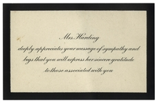 Sympathy Reply Card for President Warren Harding Who Died While in Office -- Black Bordered Card With Envelope Postmarked 1923