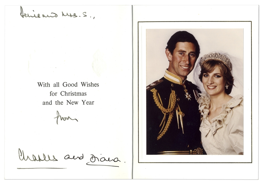 Prince Charles and Princess Diana Signed 1981 Christmas Card -- With University Archives COA