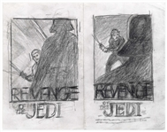 Return of the Jedi Concept Movie Poster Art by Tom Jung -- Two Versions Depicting Luke Skywalker & Darth Vader Using the Original Title, Revenge of the Jedi