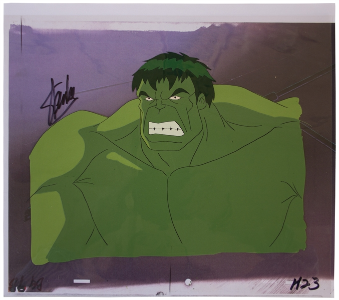 Stan Lee Signed Production Cel, Hand-Painted of His ''Incredible Hulk''