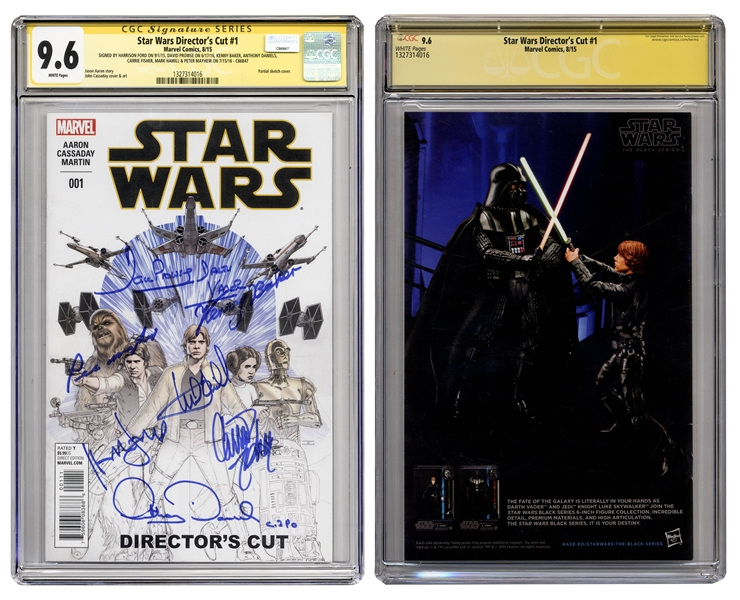 ''Star Wars Director's Cut #1'' Signed by Harrison Ford, Mark Hamill, Carrie Fisher, Peter Mahew, Anthony Daniels, David Prowse and Kenny Baker -- CGC Graded 9.6