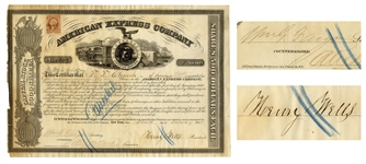 American Express Stock From 1865 Signed by Henry Wells and William Fargo, the 19th Century Businessmen Who Also Created Wells Fargo & Co.